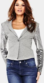 Sequin Sleeve Jersey Blazer, Grey - style: single breasted blazer; fit: slim fit; collar: standard lapel/rever collar; shoulder detail: contrast pattern/fabric at shoulder; predominant colour: light grey; occasions: casual, evening; length: standard; fibres: polyester/polyamide - stretch; sleeve length: long sleeve; sleeve style: standard; collar break: medium; pattern type: fabric; pattern size: standard; texture group: jersey - stretchy/drapey; embellishment: sequins