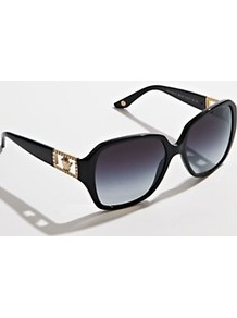 Oversized Sunglasses, Black - predominant colour: black; occasions: casual, evening, occasion, holiday; style: square; size: large; material: plastic/rubber; embellishment: crystals, studs; pattern: plain, two-tone; trends: metallics; finish: plain