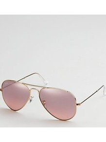 Rose Tinted Aviators, Gold - predominant colour: gold; occasions: casual, evening, holiday; style: aviator; size: standard; material: chain/metal; pattern: plain; finish: metallic