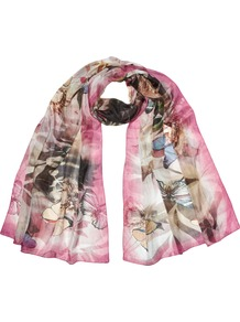 Misty Butterfly Scarf - occasions: casual, work; predominant colour: multicoloured; type of pattern: large; style: regular; size: standard; material: silk; pattern: patterned/print