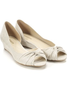 Newport Demiwedge - predominant colour: ivory; occasions: casual, holiday; material: fabric; heel height: mid; toe: open toe/peeptoe; style: ballerinas / pumps; finish: plain; pattern: plain