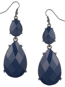 Dalia Earring - predominant colour: navy; occasions: evening, occasion; style: drop; length: long; size: large/oversized; material: plastic/rubber; fastening: pierced; finish: plain; embellishment: jewels