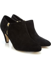 Folly Shoe Boot - predominant colour: black; occasions: casual, evening, work; material: suede; heel height: mid; embellishment: zips; heel: standard; toe: round toe; boot length: shoe boot; style: standard; finish: plain; pattern: plain