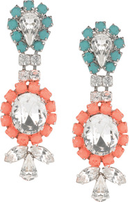 Primrose Earring - predominant colour: coral; occasions: evening, occasion; style: drop; length: long; size: large/oversized; material: chain/metal; fastening: pierced; finish: plain; embellishment: jewels