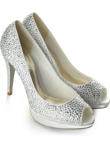 Barbados Shoe - predominant colour: silver; occasions: evening, occasion; material: fabric; heel height: high; embellishment: crystals; heel: platform; toe: open toe/peeptoe; style: courts; trends: metallics; finish: metallic; pattern: plain