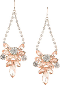 Starflower Earring - predominant colour: gold; occasions: evening, occasion; style: drop; length: long; size: large/oversized; material: chain/metal; fastening: pierced; finish: plain; embellishment: crystals