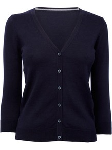 Navy Petite ¾ Sleeve Cardigan - neckline: v-neck; pattern: plain; predominant colour: navy; occasions: casual, work; length: standard; style: standard; fibres: cotton - mix; fit: slim fit; sleeve length: 3/4 length; sleeve style: standard; texture group: knits/crochet; pattern type: knitted - other; pattern size: standard