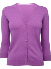 Purple Petite  Sleeve Cardigan - neckline: low v-neck; pattern: plain; bust detail: buttons at bust (in middle at breastbone)/zip detail at bust; predominant colour: magenta; occasions: casual, work; length: standard; style: standard; fibres: cotton - mix; fit: slim fit; waist detail: fitted waist; sleeve length: 3/4 length; sleeve style: standard; texture group: knits/crochet; pattern type: fabric; pattern size: standard