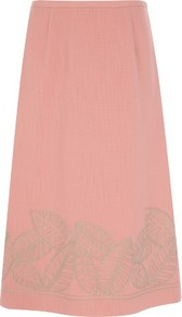 Coral Leaf Embroidered Skirt - pattern: plain; fit: tailored/fitted; waist: high rise; predominant colour: coral; occasions: evening, occasion; length: on the knee; style: a-line; fibres: polyester/polyamide - 100%; pattern type: fabric; pattern size: standard; texture group: woven light midweight; embellishment: embroidered