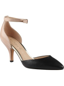 Heliette Ankle Strap Court Shoes, Black - predominant colour: black; occasions: evening, work, occasion; material: leather; heel height: mid; embellishment: buckles; ankle detail: ankle strap; heel: kitten; toe: pointed toe; style: courts; finish: plain; pattern: colourblock