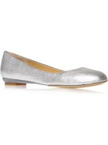 Guzzler Flat Shoes, Silver - predominant colour: silver; occasions: casual, evening, holiday; material: leather; heel height: flat; toe: round toe; style: ballerinas / pumps; trends: metallics; finish: metallic; pattern: plain