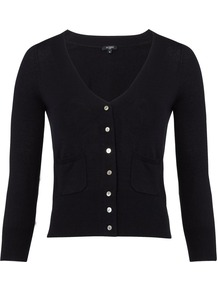 Women's Ellie Cardigan, Blue - neckline: low v-neck; pattern: plain; predominant colour: navy; occasions: casual, work; length: standard; style: standard; fibres: silk - mix; fit: slim fit; waist detail: fitted waist; sleeve length: 3/4 length; sleeve style: standard; texture group: knits/crochet; pattern type: knitted - other; pattern size: standard