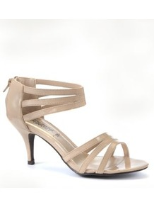 Nude Patent Strappy Mid Heels - predominant colour: nude; occasions: evening, occasion; material: faux leather; heel height: mid; embellishment: zips; ankle detail: ankle strap; heel: stiletto; toe: open toe/peeptoe; style: strappy; finish: plain; pattern: plain