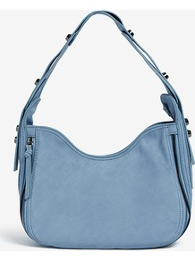 Pina Stud Detail Soft Shoulder Bag - predominant colour: denim; occasions: casual, work; style: shoulder; length: shoulder (tucks under arm); size: standard; material: leather; embellishment: studs, zips, buckles; pattern: plain; finish: plain