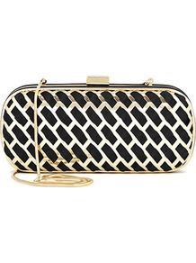 Honey Cut Out Metal Clutch - predominant colour: black; occasions: evening, occasion; type of pattern: standard; style: clutch; length: hand carry; size: small; material: fabric; pattern: plain, patterned/print; trends: metallics; finish: metallic; embellishment: chain/metal