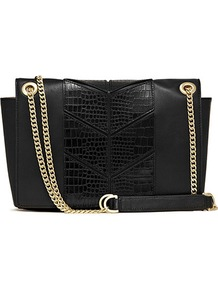 Willow Panel Detail Shoulder Bag - predominant colour: black; occasions: casual, evening, work; type of pattern: light; style: shoulder; length: shoulder (tucks under arm); size: standard; material: leather; pattern: animal print, plain; finish: plain; embellishment: chain/metal, corsage