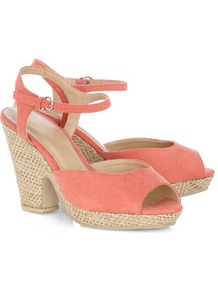 Coral Notch Heel Sandals - predominant colour: coral; occasions: casual, evening, holiday; material: fabric; heel height: high; embellishment: buckles; ankle detail: ankle strap; heel: platform; toe: open toe/peeptoe; style: standard; finish: plain; pattern: plain