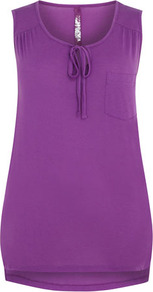 Purple Jersey Vest - sleeve style: wide vest straps; neckline: round neck; pattern: plain; bust detail: added detail/embellishment at bust, pocket detail at bust; length: below the bottom; style: vest top; predominant colour: purple; occasions: casual, holiday; fibres: polyester/polyamide - mix; fit: body skimming; back detail: longer hem at back than at front; sleeve length: sleeveless; pattern type: fabric; pattern size: standard; texture group: jersey - stretchy/drapey