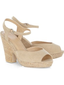 Stone Notch Heel Sandals - predominant colour: ivory; occasions: casual, evening, holiday; material: fabric; heel height: high; embellishment: buckles; ankle detail: ankle strap; heel: platform; toe: open toe/peeptoe; style: standard; finish: plain; pattern: plain