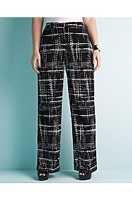 Printed Wide Leg Trouser 31in Leg - length: standard; style: palazzo; waist detail: fitted waist; waist: high rise; predominant colour: black; occasions: casual, evening, work, holiday; fibres: polyester/polyamide - 100%; hip detail: fitted at hip (bottoms); texture group: silky - light; trends: statement prints, modern geometrics; fit: wide leg; pattern type: fabric; pattern size: big &amp; busy; pattern: patterned/print