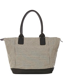 Stripe Canvas Shopper Handbag, Black - predominant colour: black; occasions: casual, work, holiday; type of pattern: standard; style: tote; length: shoulder (tucks under arm); size: standard; material: fabric; pattern: plain, striped; finish: plain