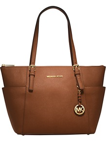 Jet Set Leather Tote Handbag - predominant colour: tan; occasions: casual, work; style: tote; length: shoulder (tucks under arm); size: standard; material: leather; pattern: plain; finish: plain