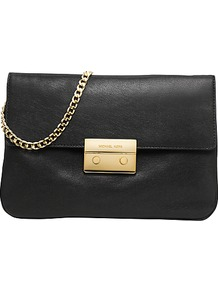 Sloan Chain Clutch Handbag, Black - predominant colour: black; occasions: casual, evening, occasion; type of pattern: light; style: clutch; length: hand carry; size: small; material: leather; pattern: plain; finish: plain; embellishment: chain/metal