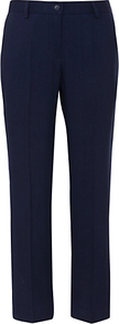 Cropped Linen Mix Trousers - pattern: plain; waist: mid/regular rise; predominant colour: navy; occasions: casual, work; length: ankle length; fibres: linen - mix; hip detail: fitted at hip (bottoms); waist detail: narrow waistband; fit: straight leg; pattern type: fabric; texture group: woven light midweight; style: standard