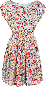 Antello Ditsy Floral Dress - length: mid thigh; neckline: slash/boat neckline; sleeve style: capped; waist detail: fitted waist, twist front waist detail/nipped in at waist on one side/soft pleats/draping/ruching/gathering waist detail; occasions: casual, evening, work, holiday; fit: fitted at waist & bust; style: fit & flare; fibres: polyester/polyamide - 100%; hip detail: soft pleats at hip/draping at hip/flared at hip; predominant colour: multicoloured; sleeve length: short sleeve; trends: high impact florals; pattern type: fabric; pattern size: small & busy; pattern: florals, patterned/print; texture group: jersey - stretchy/drapey