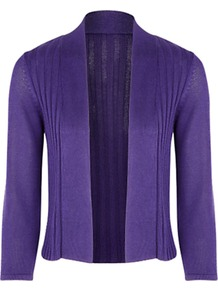 Ribbed Cardigan - pattern: plain; neckline: shawl; style: open front; predominant colour: purple; occasions: casual, evening, work; length: standard; fibres: nylon - 100%; fit: slim fit; sleeve length: 3/4 length; sleeve style: standard; texture group: knits/crochet; pattern type: knitted - fine stitch; pattern size: standard