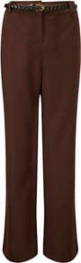 Tencel Trousers - length: standard; pattern: plain; waist detail: belted waist/tie at waist/drawstring; waist: mid/regular rise; predominant colour: chocolate brown; occasions: casual, work; fibres: linen - mix; texture group: linen; fit: straight leg; pattern type: fabric; pattern size: standard; style: standard