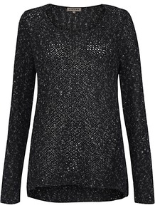 Flecked Swing Jumper - neckline: round neck; pattern: plain; style: standard; predominant colour: black; occasions: casual, evening, work; length: standard; fibres: cotton - mix; fit: standard fit; back detail: longer hem at back than at front; sleeve length: long sleeve; sleeve style: standard; texture group: knits/crochet; pattern type: knitted - big stitch; pattern size: standard