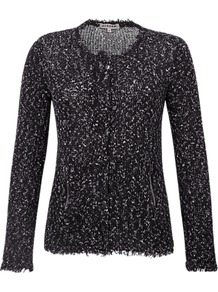 Flecked Zip Pocket Cardigan - neckline: round neck; pattern: herringbone/tweed; predominant colour: black; occasions: casual, evening, work; length: standard; style: standard; fibres: cotton - mix; fit: slim fit; sleeve length: long sleeve; sleeve style: standard; texture group: knits/crochet; pattern type: knitted - big stitch; pattern size: small & busy