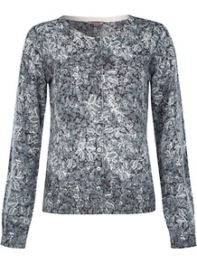 Lace Print Cardigan - neckline: round neck; predominant colour: mid grey; occasions: casual, work; length: standard; style: standard; fibres: wool - 100%; fit: standard fit; sleeve length: long sleeve; sleeve style: standard; texture group: knits/crochet; pattern type: knitted - fine stitch; pattern size: small &amp; busy; pattern: patterned/print