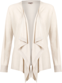 Cashmere Silk Waterfall Cardigan, Stone - pattern: plain; neckline: waterfall neck; style: open front; predominant colour: ivory; occasions: casual, work; length: standard; fibres: silk - mix; fit: loose; sleeve length: long sleeve; sleeve style: standard; texture group: knits/crochet; pattern type: knitted - fine stitch; pattern size: standard