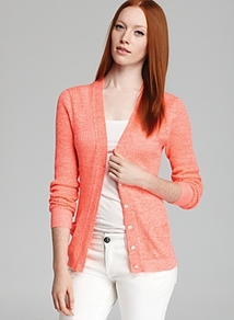 Cardigan Farrah - neckline: low v-neck; pattern: plain; predominant colour: coral; occasions: casual, work; length: standard; style: standard; fibres: linen - mix; fit: slim fit; waist detail: fitted waist; sleeve length: long sleeve; sleeve style: standard; texture group: knits/crochet; pattern type: knitted - fine stitch; pattern size: standard