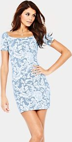 Short Sleeve Paisley Print Bodycon Dress, Blue - length: mid thigh; fit: tight; style: bodycon; waist detail: fitted waist; pattern: paisley; hip detail: fitted at hip; predominant colour: pale blue; occasions: evening, occasion; neckline: scoop; fibres: cotton - stretch; sleeve length: short sleeve; sleeve style: standard; texture group: jersey - clingy; trends: statement prints; pattern type: fabric; pattern size: standard