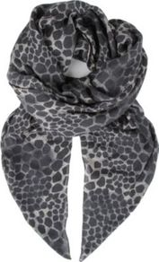 Giraffe Print Bamboo Blend Scarf - predominant colour: black; occasions: casual, work; type of pattern: standard; style: regular; size: standard; material: fabric; pattern: animal print