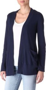 Light Jersey Cardigan - pattern: plain; hip detail: side pockets at hip; length: below the bottom; neckline: collarless open; style: open front; predominant colour: navy; occasions: casual, work; fibres: cotton - mix; fit: loose; sleeve length: long sleeve; sleeve style: standard; pattern type: fabric; pattern size: standard; texture group: jersey - stretchy/drapey