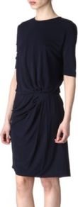 Pim Jersey Dress - style: faux wrap/wrap; pattern: plain; waist detail: fitted waist; bust detail: ruching/gathering/draping/layers/pintuck pleats at bust; predominant colour: navy; occasions: casual, evening, work; length: just above the knee; fit: body skimming; fibres: viscose/rayon - 100%; neckline: crew; hip detail: soft pleats at hip/draping at hip/flared at hip; back detail: keyhole/peephole detail at back; sleeve length: half sleeve; sleeve style: standard; pattern type: fabric; pattern size: standard; texture group: jersey - stretchy/drapey