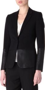 Leather Panel Blazer - pattern: plain; style: single breasted blazer; collar: standard lapel/rever collar; predominant colour: black; occasions: evening, work, occasion; length: standard; fit: tailored/fitted; fibres: polyester/polyamide - stretch; waist detail: fitted waist; sleeve length: long sleeve; sleeve style: standard; texture group: leather; collar break: low/open; pattern type: fabric; pattern size: standard