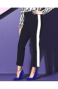 Black And White Panel Trousers - waist: mid/regular rise; predominant colour: black; occasions: casual, evening, work; length: ankle length; fibres: polyester/polyamide - mix; texture group: crepes; fit: straight leg; pattern type: fabric; pattern size: small &amp; light; pattern: colourblock; style: standard