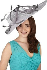 Faux Feather & Swirl Mesh Disc Headband - predominant colour: light grey; occasions: evening, occasion; type of pattern: standard; style: fascinator; size: large; material: sinamay; embellishment: feather; pattern: plain; trends: sculptural frills