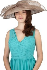 Mega Disc &amp; Big Bow Spotted Hat - predominant colour: camel; occasions: evening, occasion; type of pattern: standard; style: wide brimmed; size: large; material: sinamay; embellishment: bow; pattern: plain