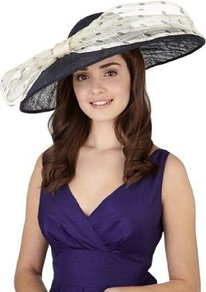 Mega Disc & Big Bow Spotted Hat - predominant colour: navy; occasions: occasion; type of pattern: large; style: wide brimmed; size: large; material: sinamay; embellishment: bow; pattern: polka dot