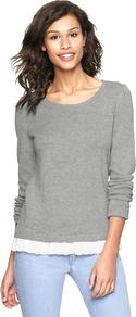 Eyelet Trim Sweater - neckline: round neck; pattern: plain; style: standard; predominant colour: light grey; occasions: casual, work; length: standard; fibres: cotton - mix; fit: standard fit; sleeve length: long sleeve; sleeve style: standard; texture group: knits/crochet; pattern type: knitted - fine stitch; pattern size: small &amp; light