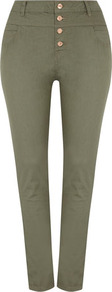Khaki High Waist Jeans - length: standard; pattern: plain; waist: high rise; pocket detail: traditional 5 pocket; style: slim leg; predominant colour: khaki; occasions: casual; fibres: cotton - mix; texture group: denim; pattern type: fabric; pattern size: standard