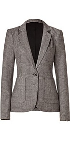 Black/Beige Wool Glen Plaid Charlie Blazer - pattern: plain; style: single breasted blazer; hip detail: front pockets at hip; fit: slim fit; collar: standard lapel/rever collar; predominant colour: mid grey; occasions: casual, evening, work; length: standard; fibres: wool - 100%; waist detail: fitted waist; back detail: back vent/flap at back; sleeve length: long sleeve; sleeve style: standard; collar break: low/open; pattern type: fabric; pattern size: standard; texture group: woven light midweight