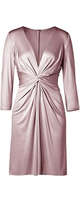 Pale Mauve Draped Silk Jersey Dress - style: shift; neckline: plunge; fit: tailored/fitted; pattern: plain; waist detail: twist front waist detail/nipped in at waist on one side/soft pleats/draping/ruching/gathering waist detail; bust detail: ruching/gathering/draping/layers/pintuck pleats at bust; predominant colour: blush; occasions: evening, occasion; length: on the knee; fibres: silk - 100%; hip detail: soft pleats at hip/draping at hip/flared at hip; sleeve length: 3/4 length; sleeve style: standard; texture group: silky - light; pattern type: fabric; pattern size: standard