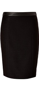 Black Textured Linen Blend Skirt - pattern: plain; style: pencil; fit: tailored/fitted; waist detail: embellishment at waist/feature waistband; waist: high rise; hip detail: fitted at hip; predominant colour: black; occasions: evening, work; length: just above the knee; fibres: linen - mix; texture group: linen; pattern type: fabric; pattern size: standard